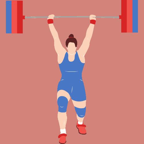 Woman lifting barbel overhead